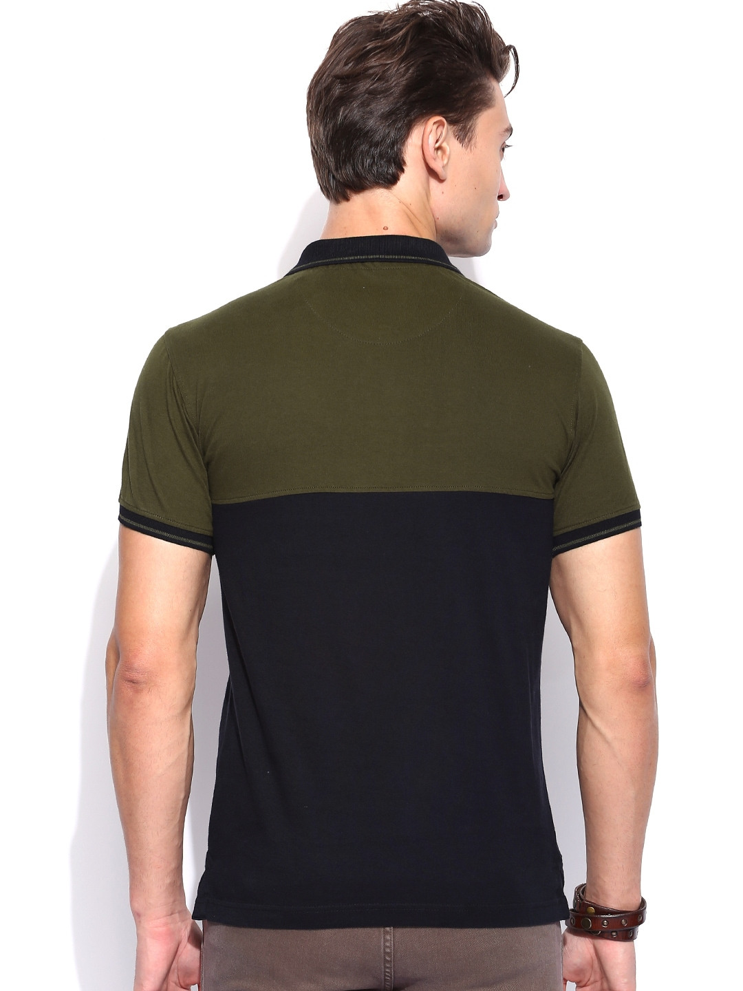 Myntra roadster men black olive green panelled polo t for Dark green mens polo shirt