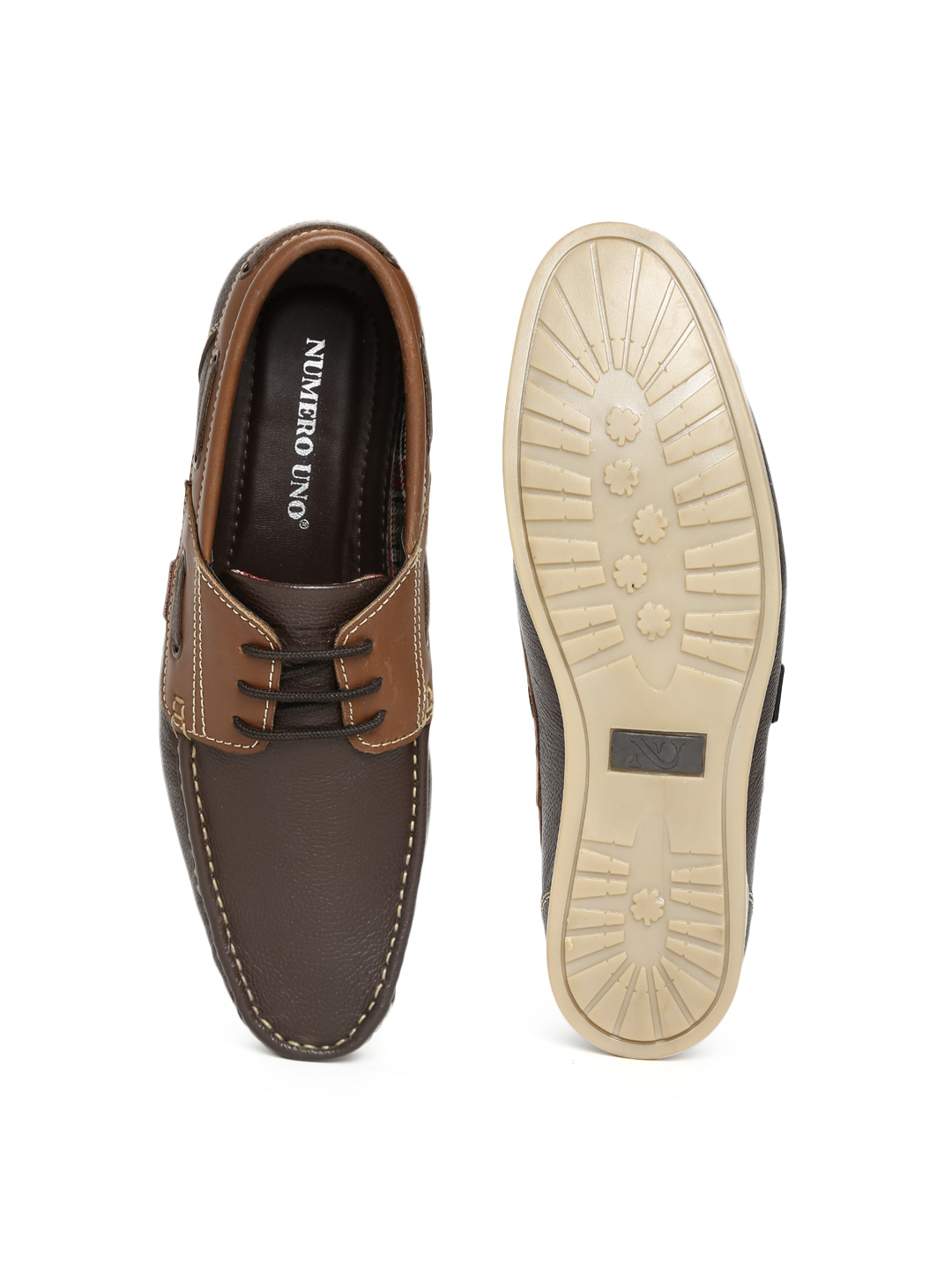myntra numero uno brown leather casual shoes 591153