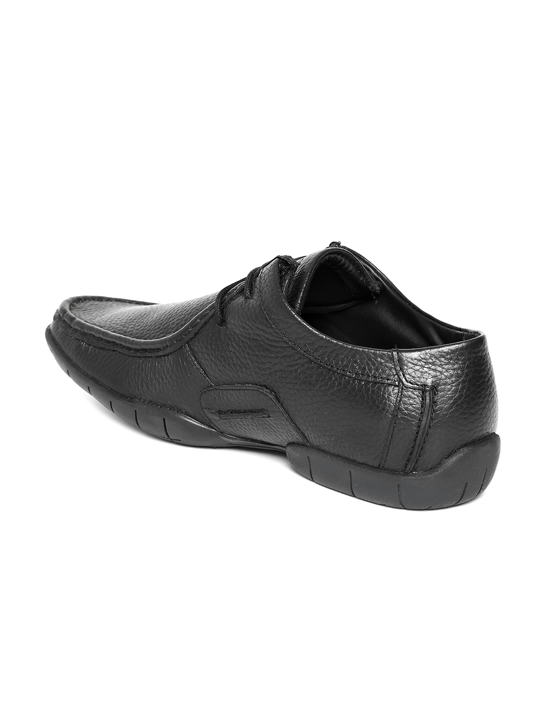 myntra numero uno black leather casual shoes 591156