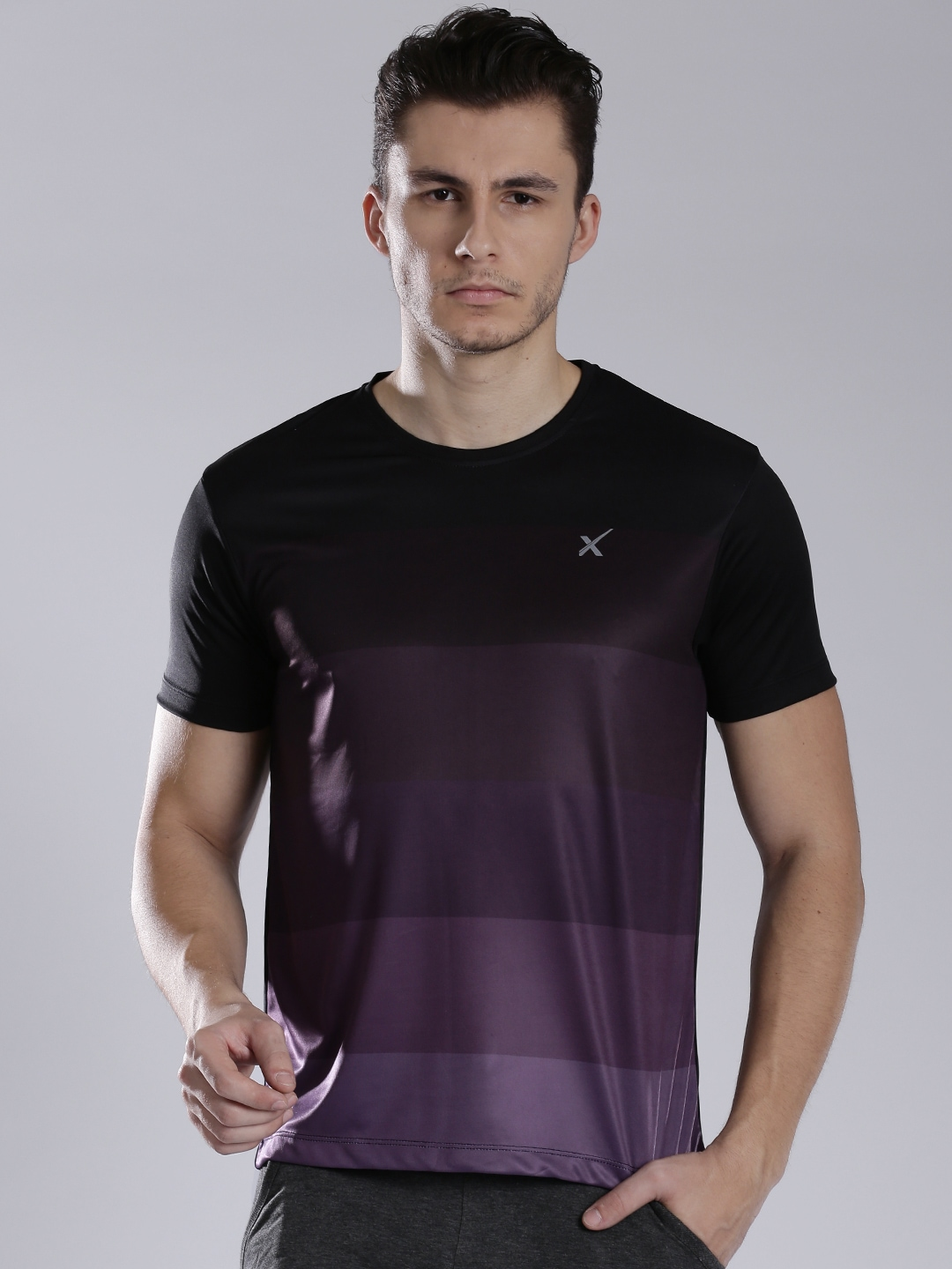 Myntra hrx by hrithik roshan men black purple striped for Purple and black striped t shirt