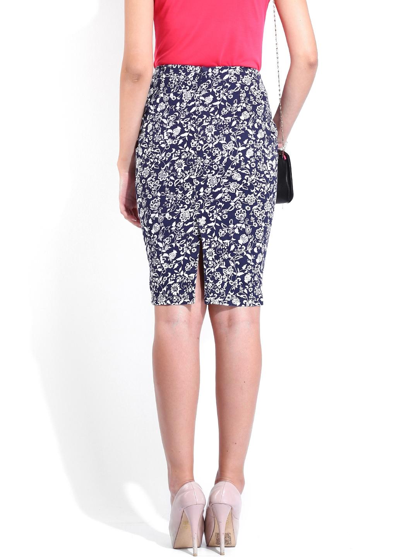 myntra dressberry navy white printed pencil skirt 594323