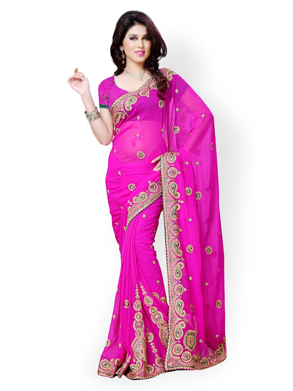 Myntra Diva Fashion Pink Embroidered Georgette Fashion Saree 598393 Buy Myntra Viva N Diva