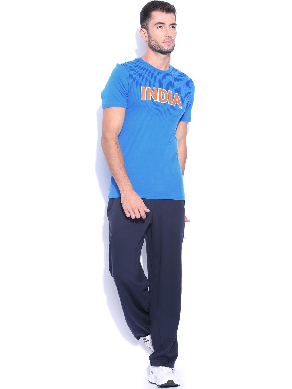 Myntra nike men blue as em crckt india printed t shirt for Printed t shirts india