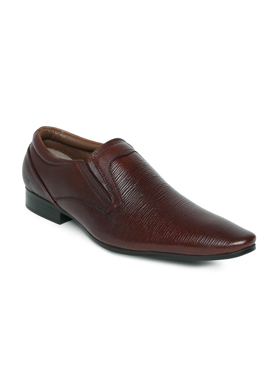 myntra clarus brown leather formal shoes 606381 buy