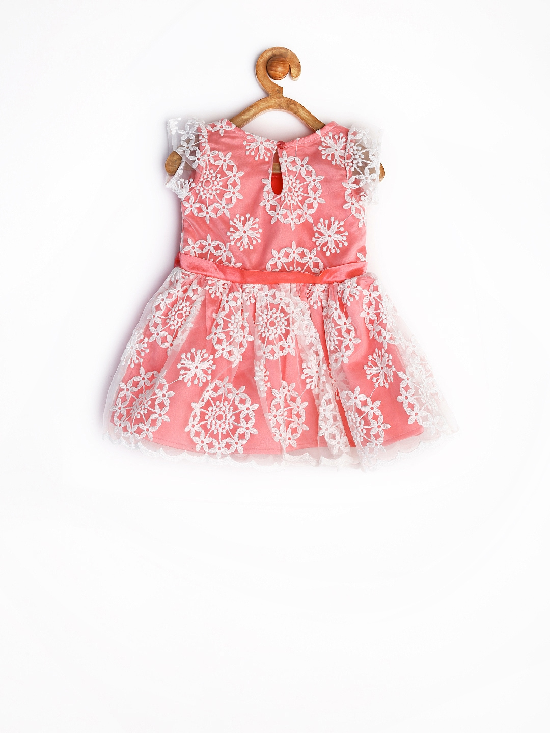 Myntra Yellow Kite Baby Girls Coral Pink Fit & Flare Dress