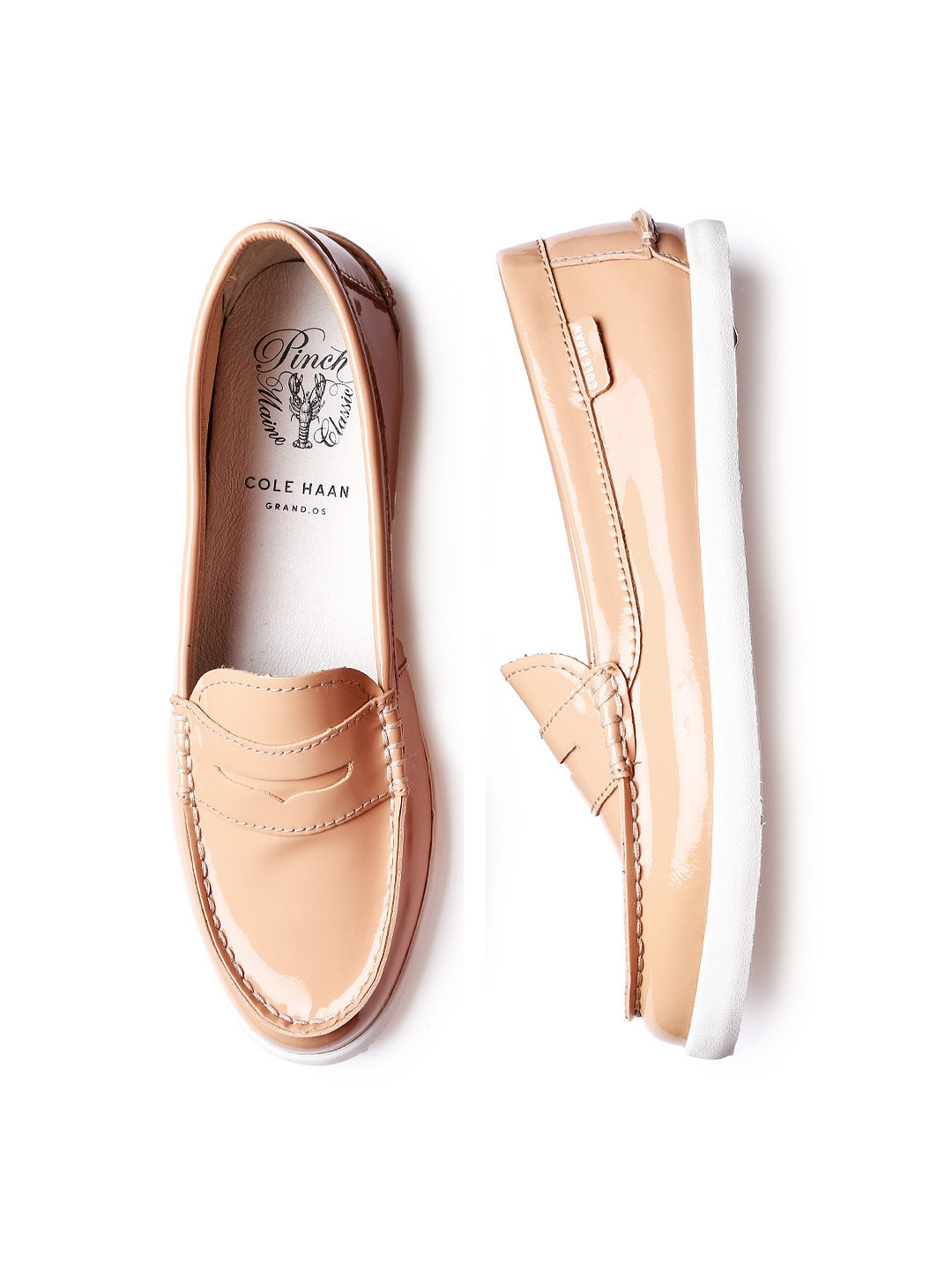 Myntra Cole Haan Women Peach-Coloured Patent Leather Loafers 607264 | Buy Myntra Cole Haan ...
