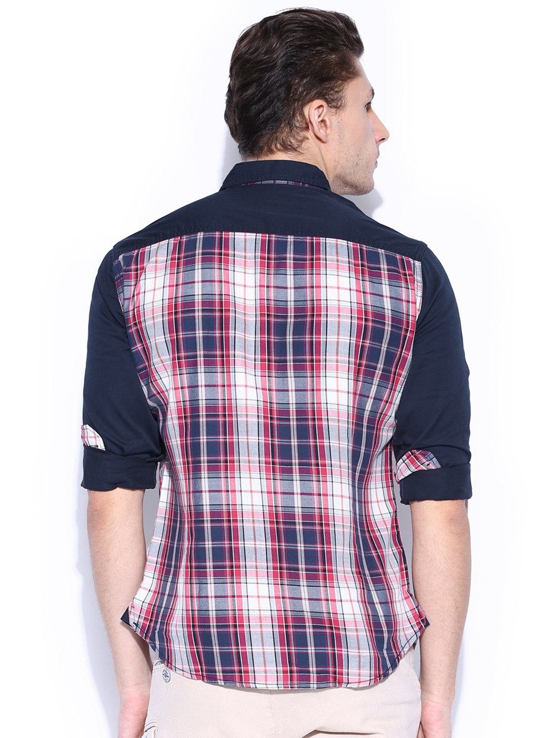 Myntra hrx men navy blue pink checked casual shirt for Navy blue shirt online