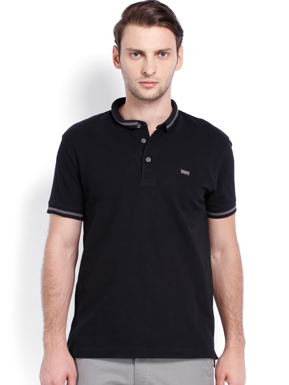 Levis men black polo t shirt at myntra for Mens black levi shirt