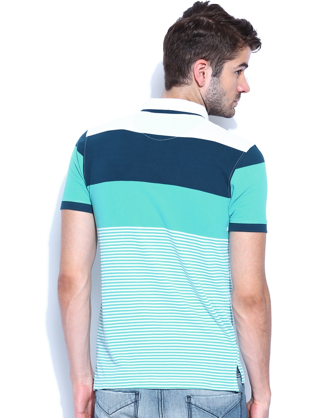 Myntra hrx men teal blue white striped polo t shirt for Mens teal polo shirt