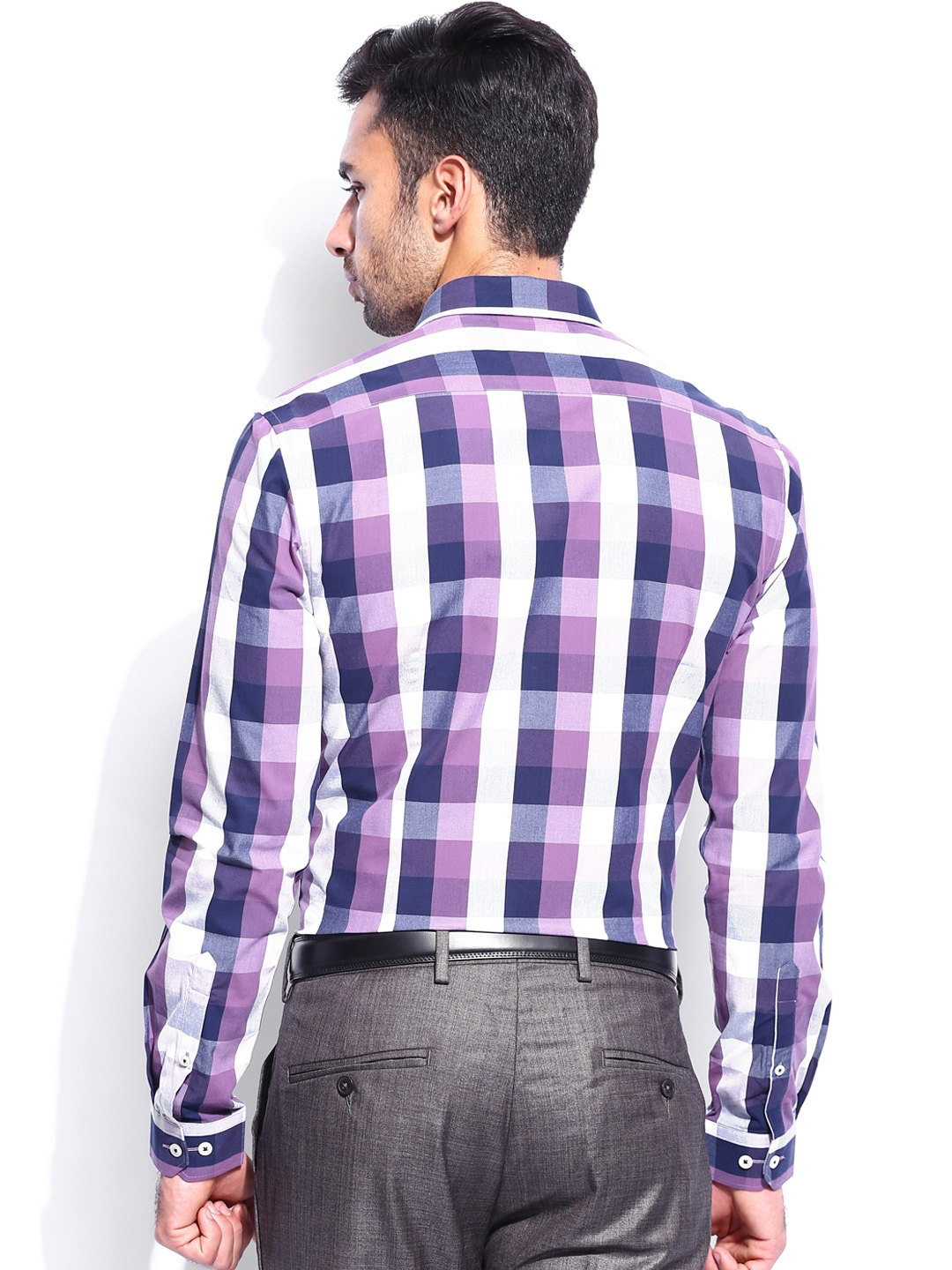 Myntra invictus men purple white checked slim fit smart for Purple and white checked shirt