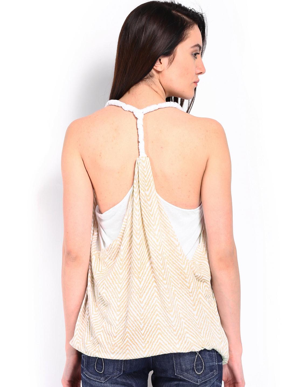 myntra calvin klein jeans women white beige linen printed top 618967 buy myntra calvin klein. Black Bedroom Furniture Sets. Home Design Ideas