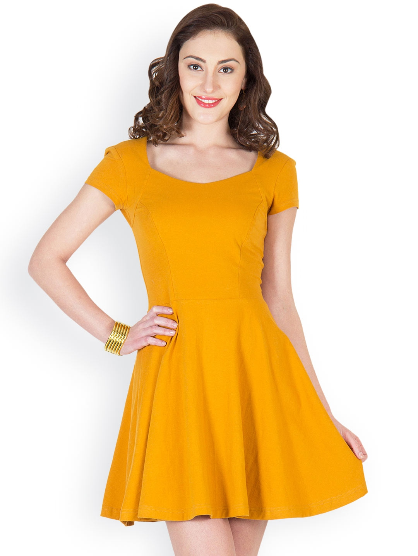 myntra mysin mustard yellow skater dress 619374 buy