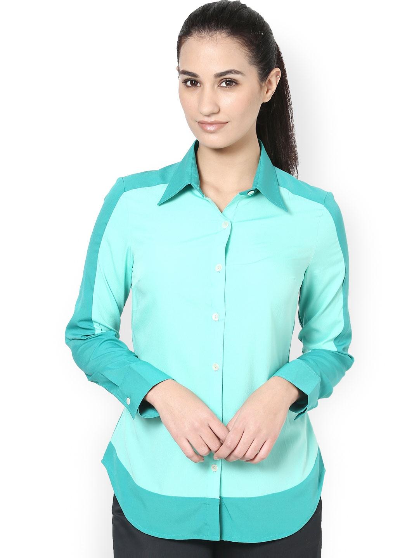 Myntra kaaryah women green formal shirt 620295 buy for Shirts online shopping lowest price