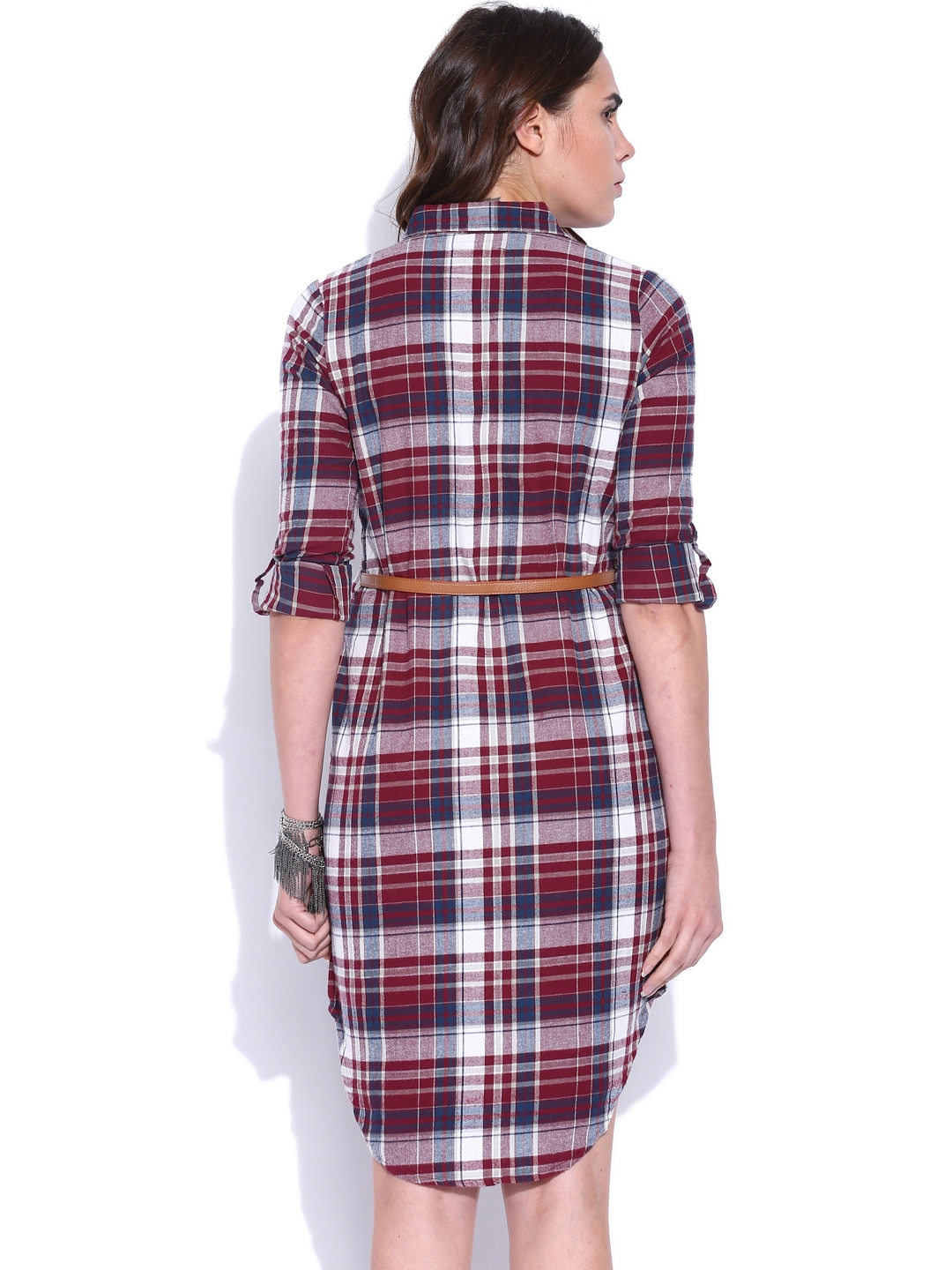 Myntra roadster burgundy white checked shirt dress for Buy white dress shirt