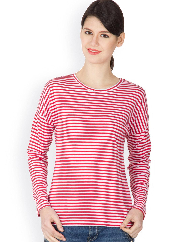 Myntra hypernation women red white striped t shirt for Best striped t shirt