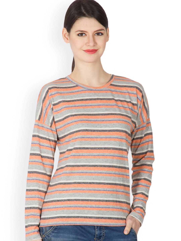 Myntra hypernation women orange grey striped t shirt Grey striped t shirt