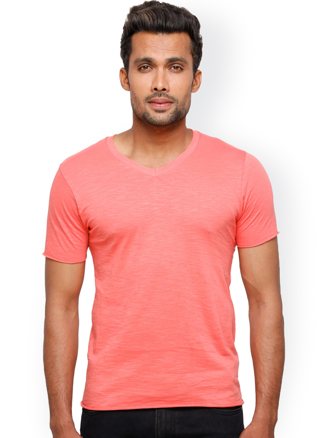 Myntra globus men coral pink t shirt 624411 buy myntra for Coral shirts for guys