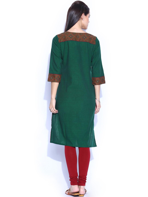 Myntra fabindia women green hand embroidered kurta