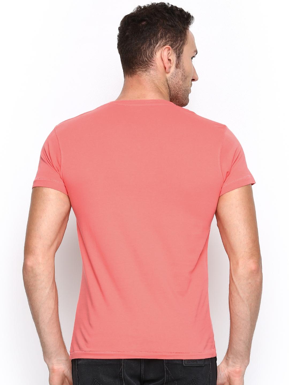Myntra Wrangler Men Coral Pink T Shirt 626487 Buy Myntra