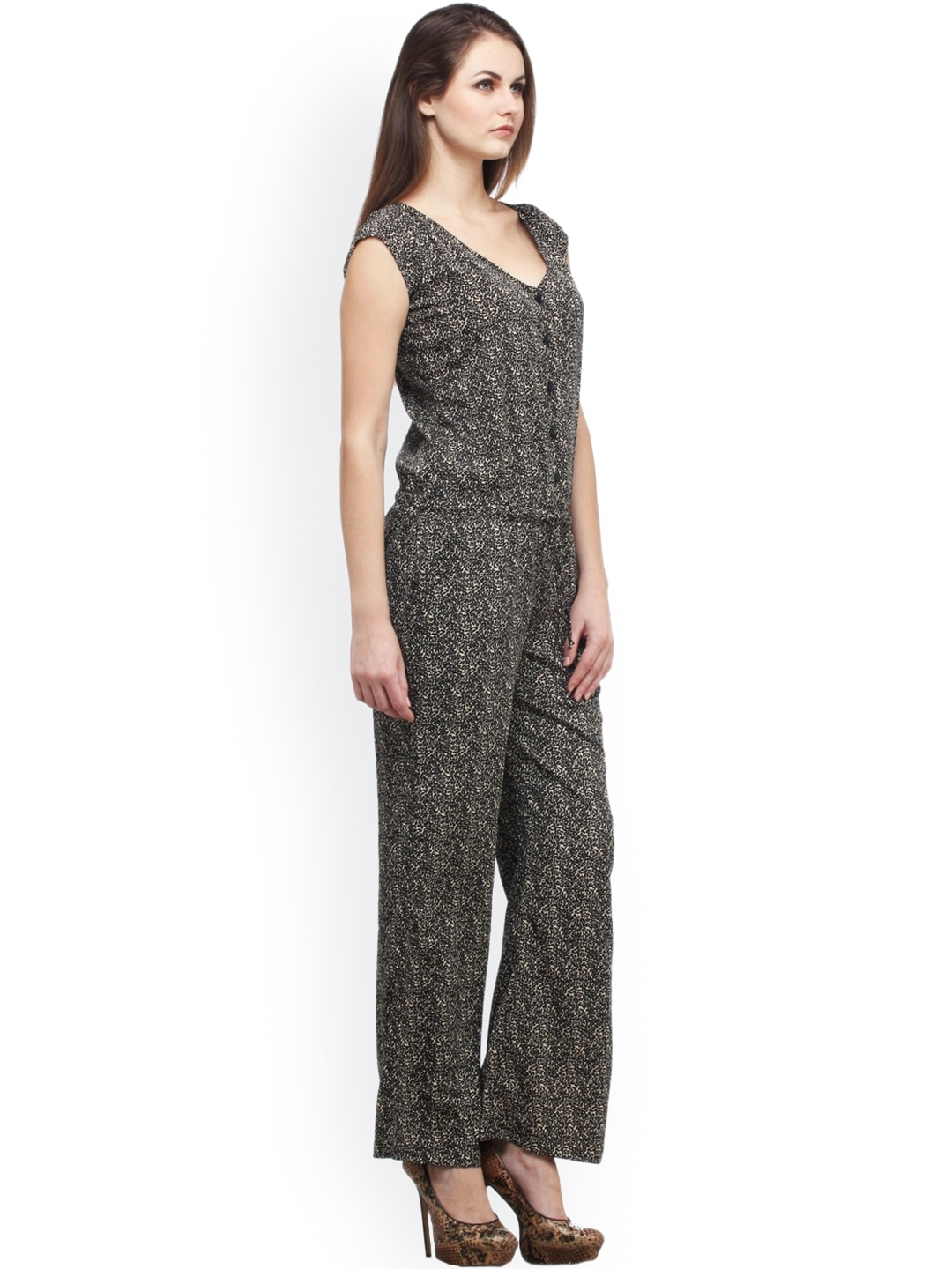 Brilliant Printed Womens Jumpsuit  Buy Cottinfab Black Rayon Printed Womens