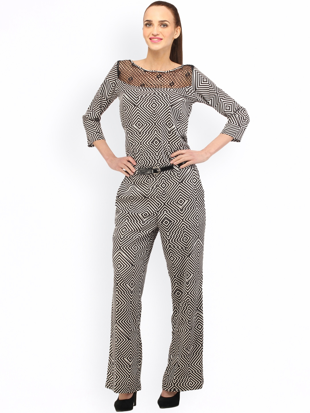 Simple Cottinfab Brown Viscose Printed Jumpsuits Available At SnapDeal For Rs