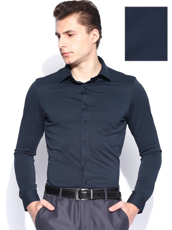 Myntra arrow new york navy slim fit semiformal shirt for Navy slim fit shirt