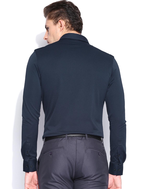 myntra arrow new york navy slim fit semiformal shirt