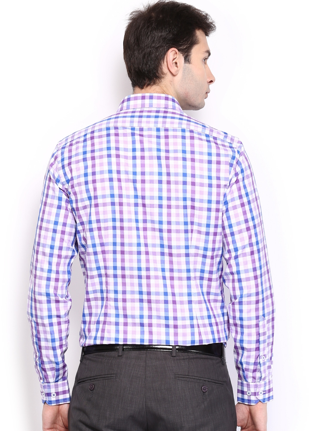 Myntra mark taylor men purple white checked slim fit for Purple and white checked shirt
