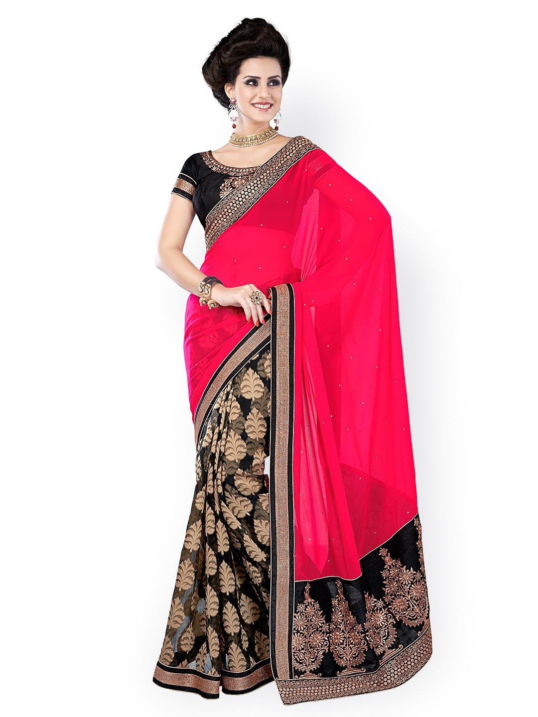 Myntra Kashish Lifestyle Pink Black Printed Georgette Fashion Saree 631148 Buy Myntra
