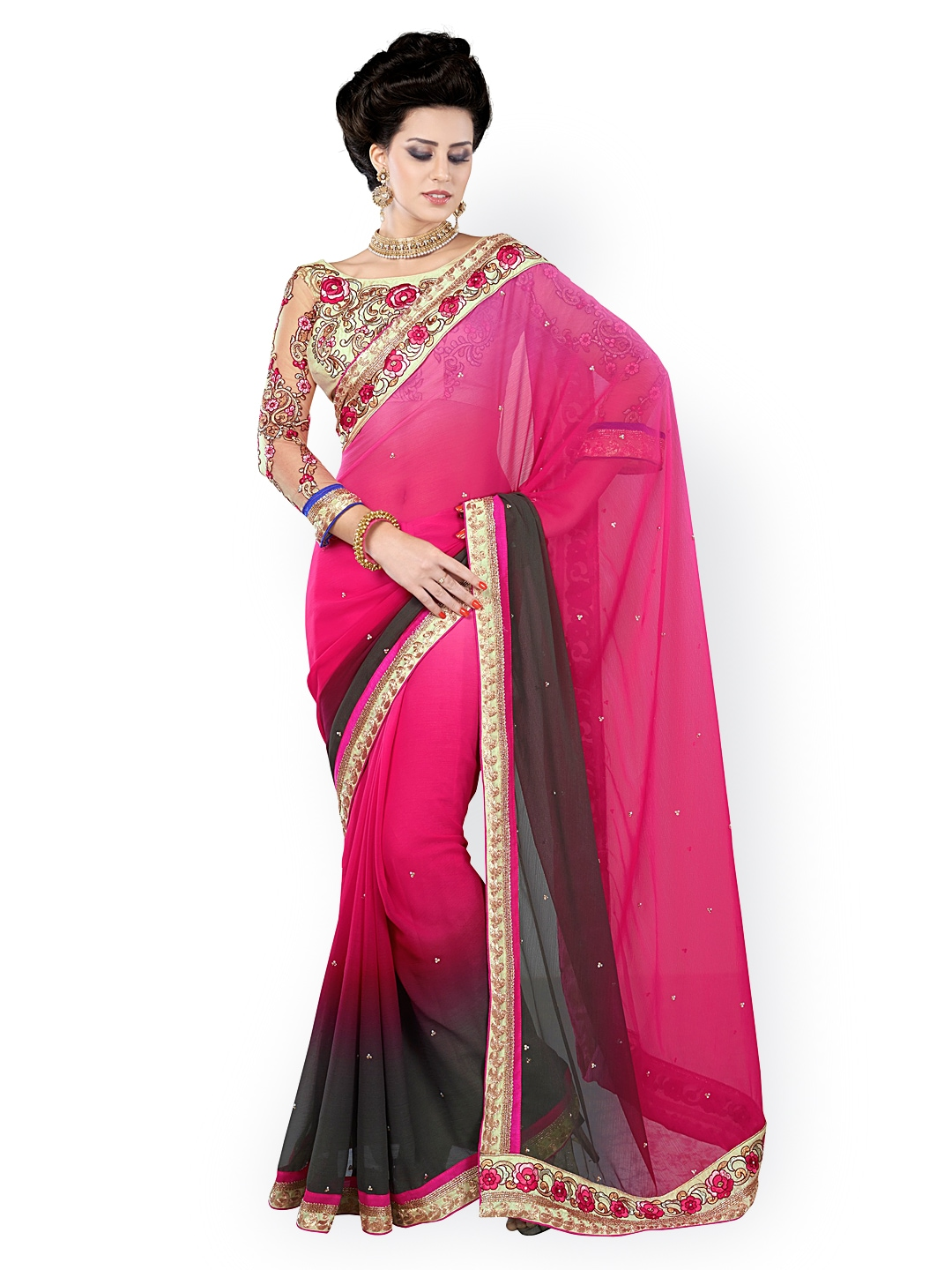 Myntra Kashish Lifestyle Pink Green Chiffon Fashion Saree 631150 Buy Myntra Kashish