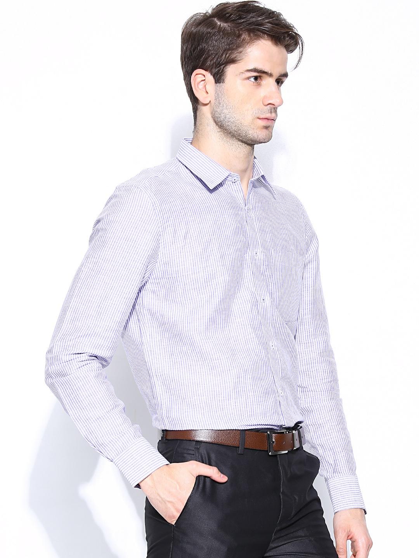 Myntra turtle men white purple striped slim fit linen for Slim fit white linen shirt
