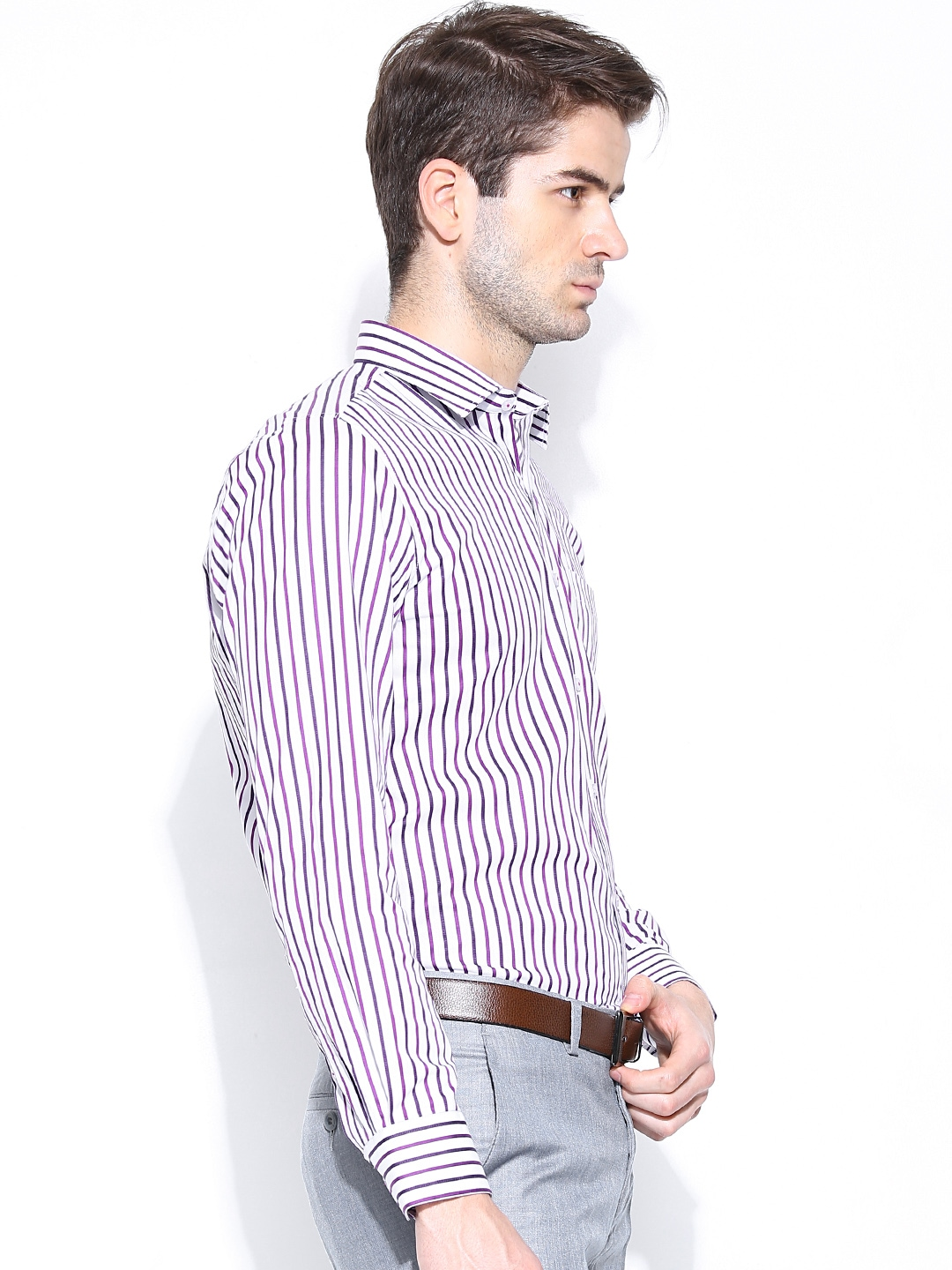 Myntra turtle men white purple striped slim fit formal for Boys white formal shirt
