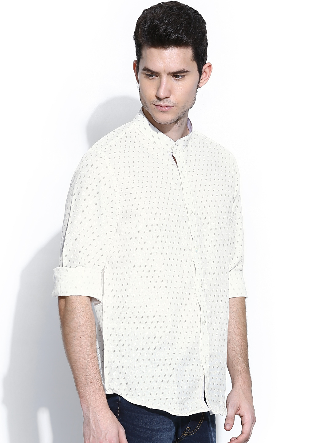Myntra turtle off white printed slim fit linen casual for Slim fit white linen shirt