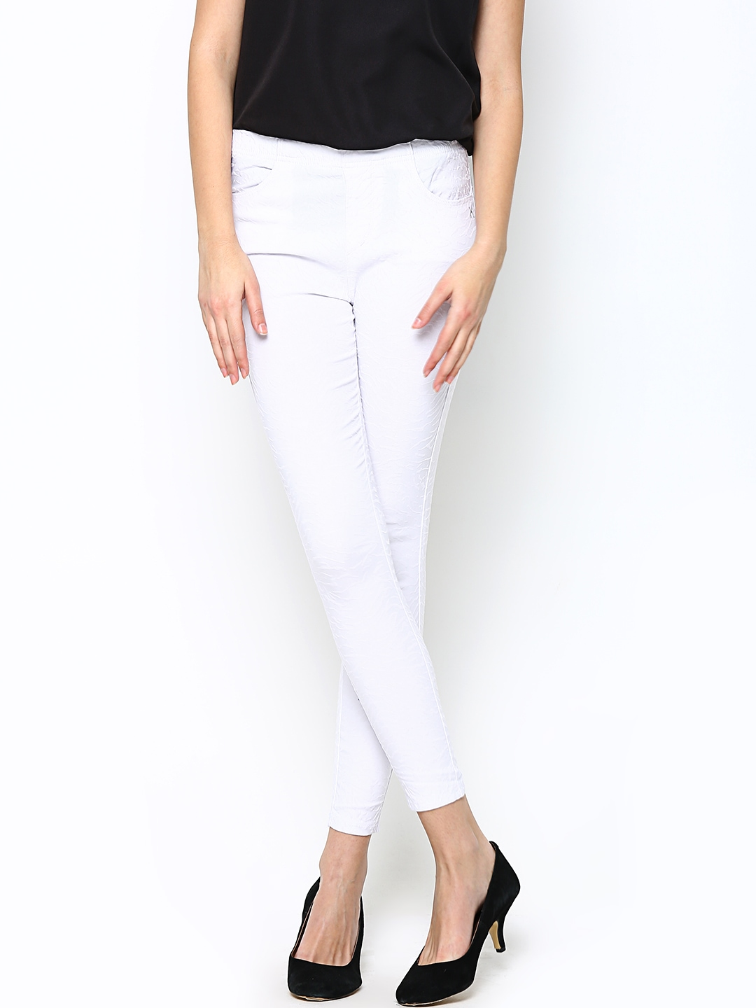 DenimFlex™ off white color jegging. Buy One Get One 50% Off are a fun statement pant perfect for any occasion. Add some bright colors and pair with neutral tops, or rock our jegging jeans that go with any top or shoe style. Related Searches to Women's Jeggings. Women's Jeans, Plus Size Women's Jeans, Plus Size Jeggings.