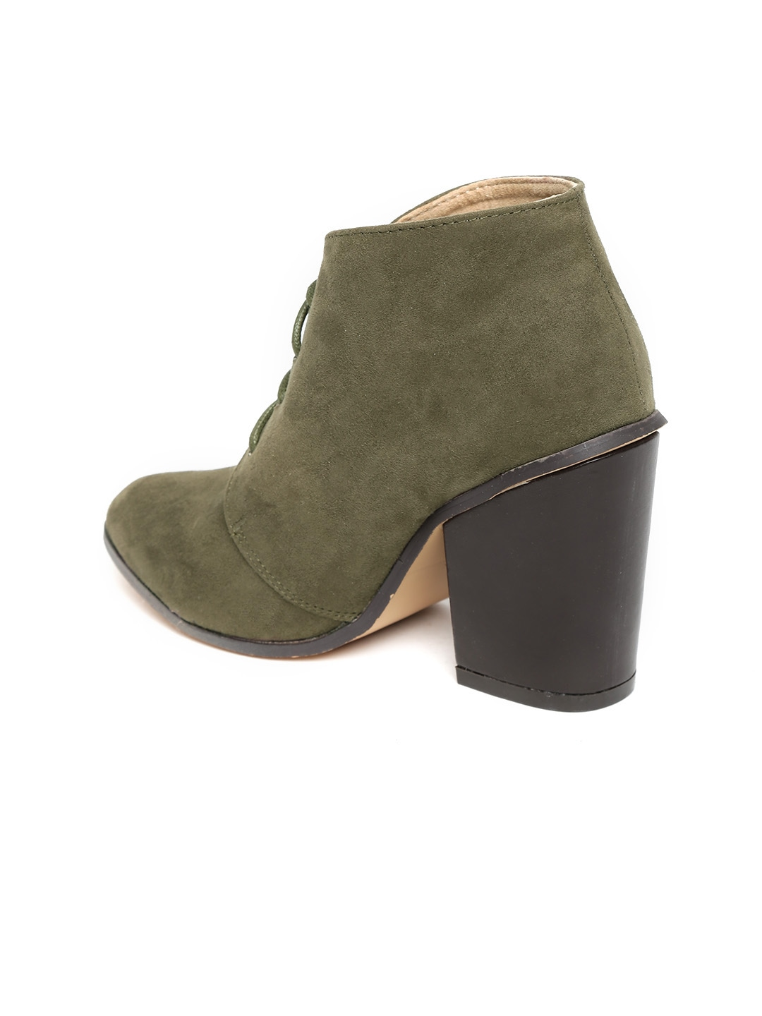myntra carlton olive green suede heeled boots