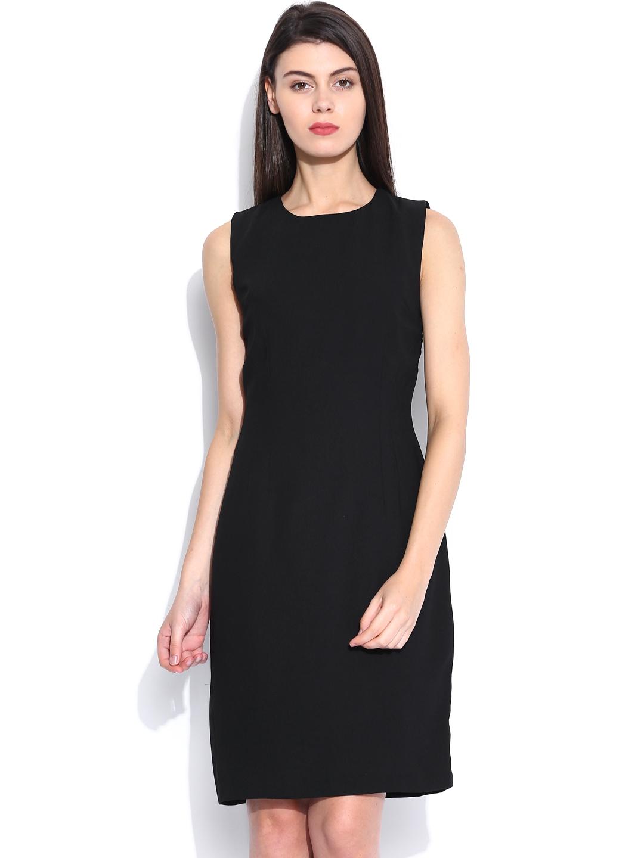 Myntra Allen Solly Woman Black Tailored Dress 636289