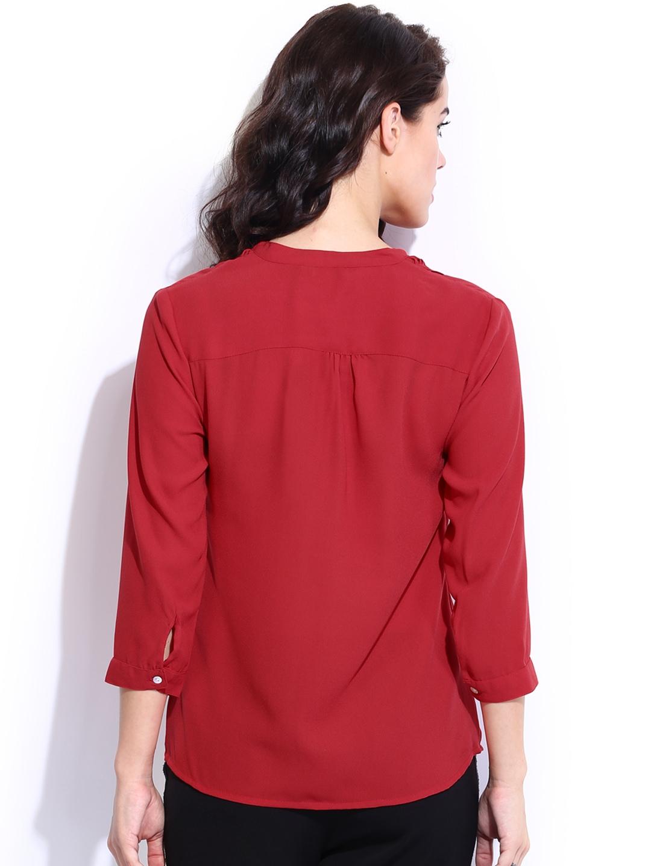 myntra van heusen woman red shirt 636641 buy myntra van