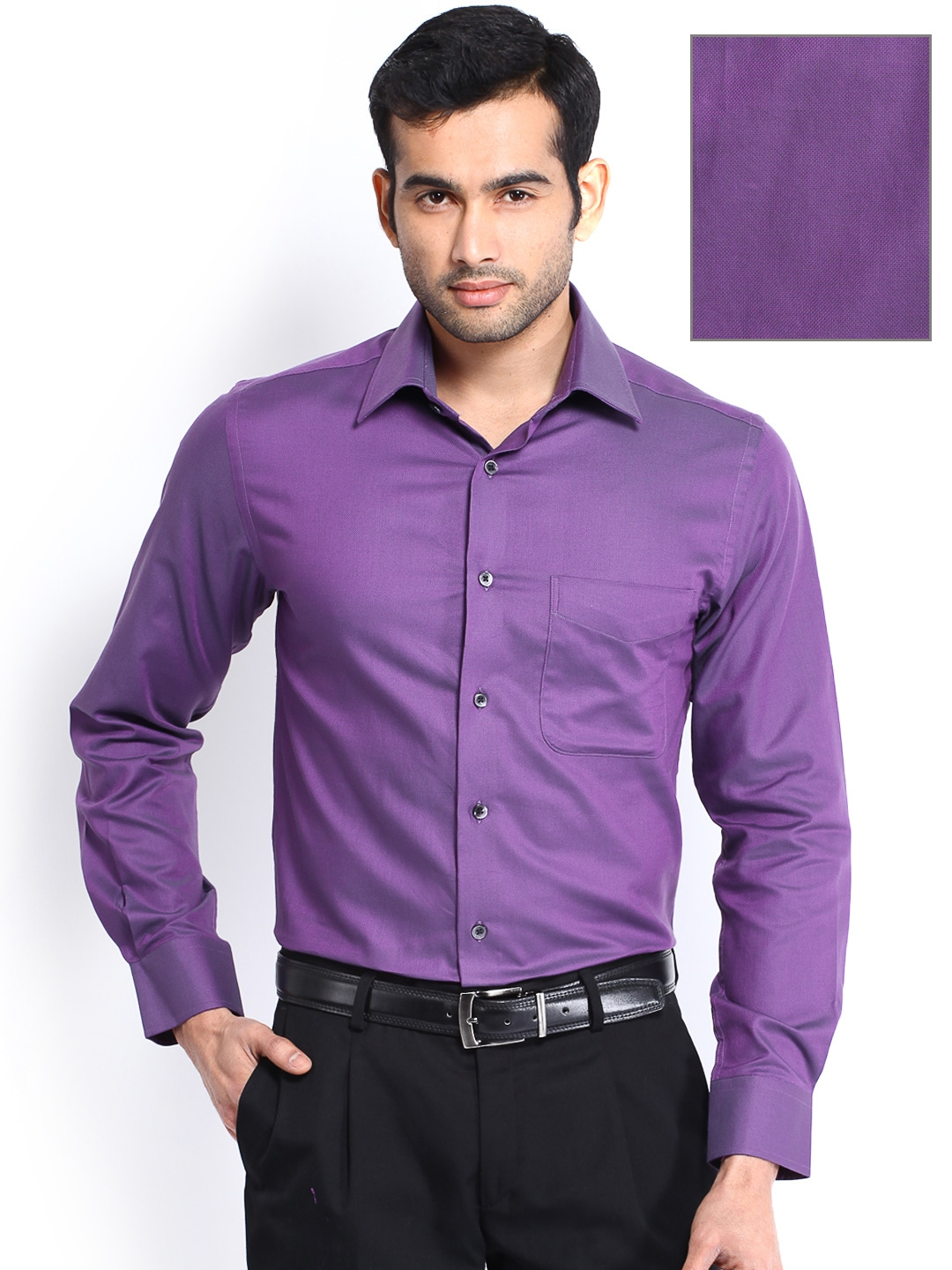 Myntra peter england men purple slim fit formal shirt for Shirts online shopping lowest price