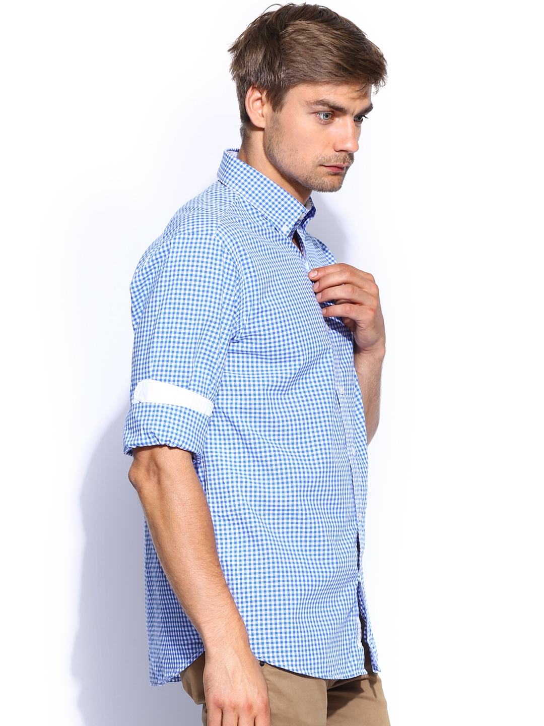 Myntra u s polo assn men blue white checked tailored for Tailor dress shirt cost