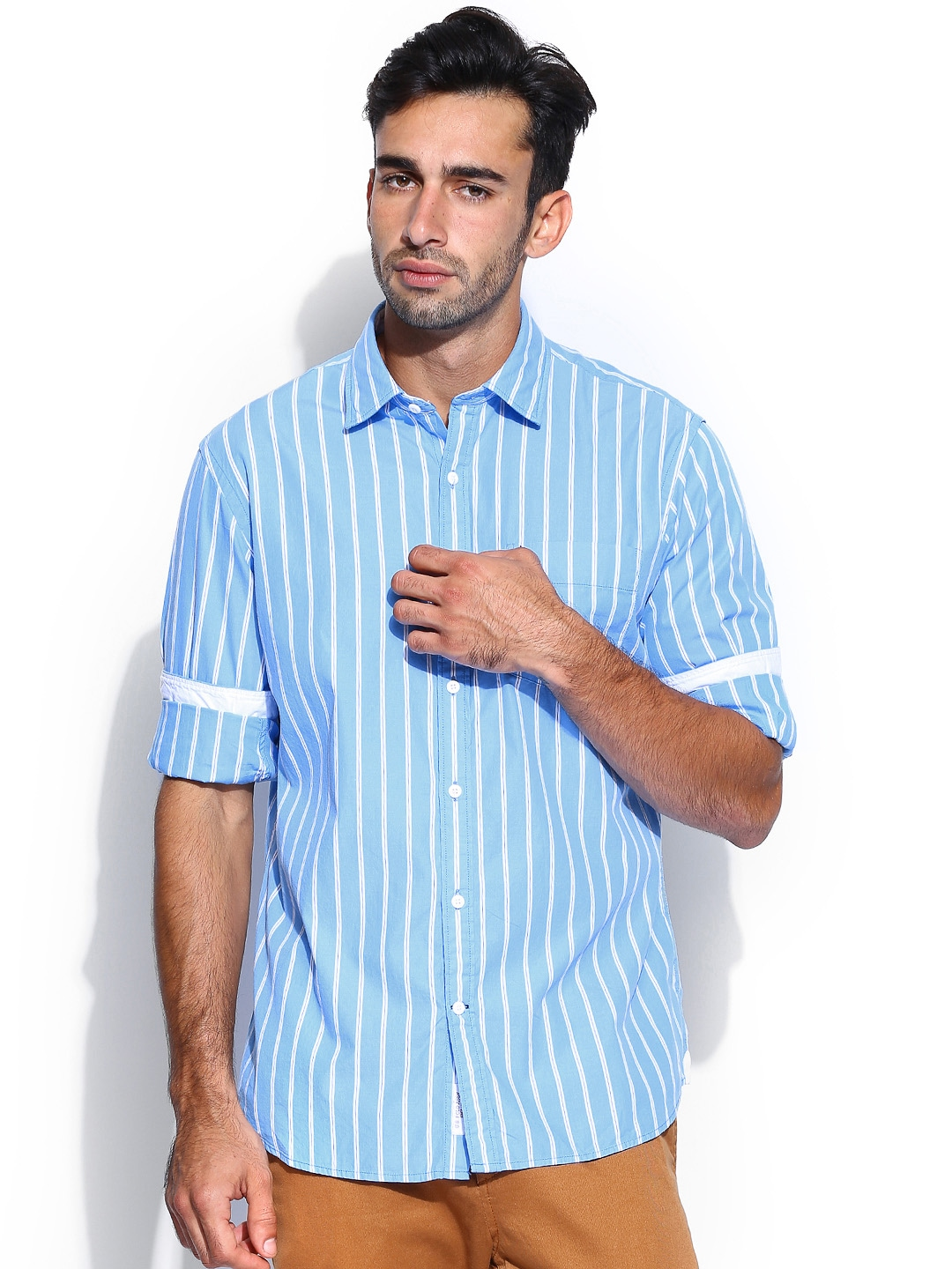 Myntra U S Polo Assn Men Blue White Striped Tailored