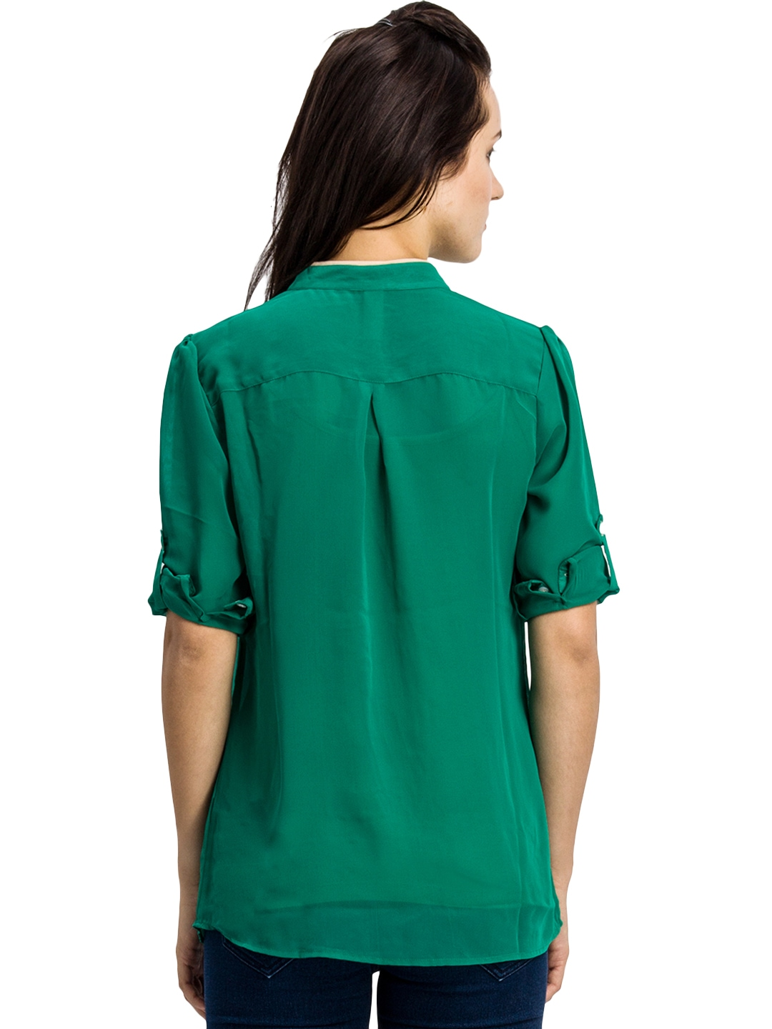 Myntra bkind women green casual shirt 638938 buy myntra for Shirts online shopping lowest price