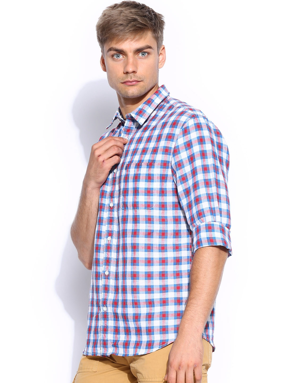 Myntra izod men white blue checked linen slim fit casual for Slim fit white linen shirt