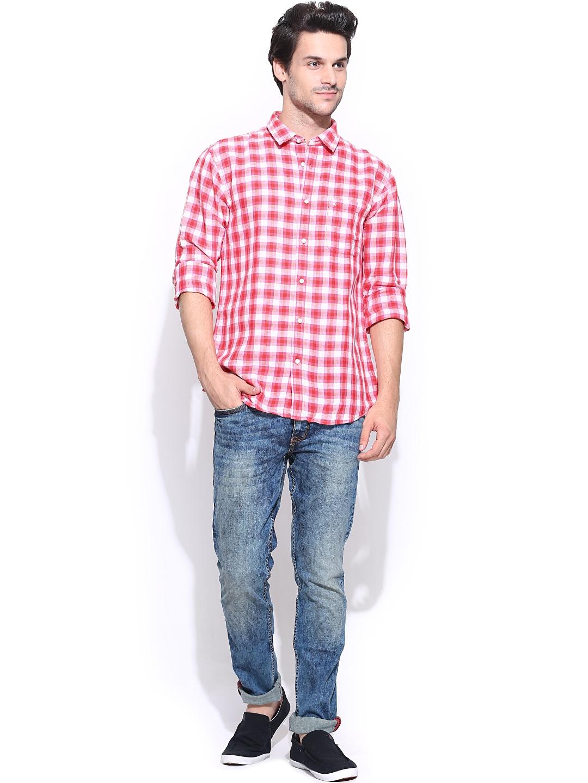 Myntra izod men pink off white checked slim fit linen for Slim fit white linen shirt