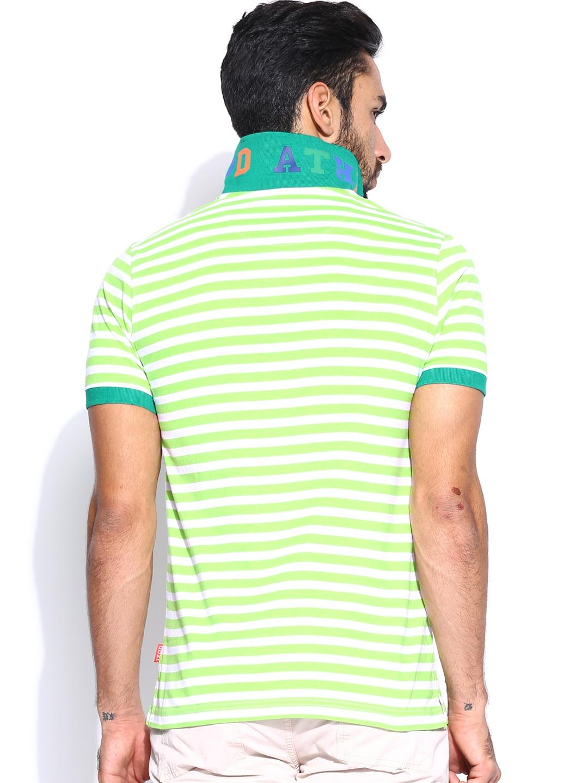 Myntra izod men lime green white striped polo t shirt for Mens lime green polo shirt