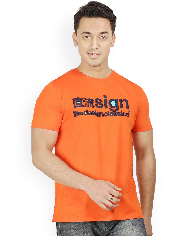 Myntra design classics men orange embroidered t shirt for Myntra t shirt design