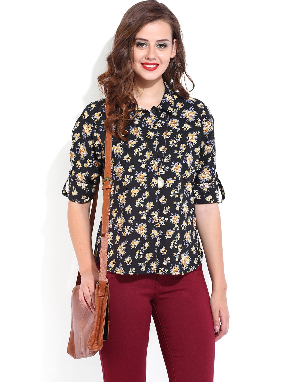 Myntra Dressberry Women Black Floral Printed Shirt 648099