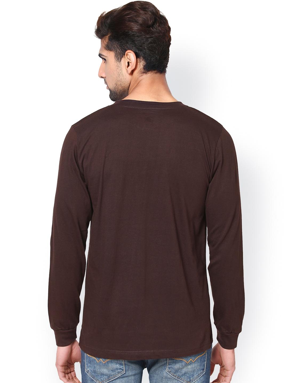 Myntra Unisopent Designs Men Brown Henley T Shirt 648960