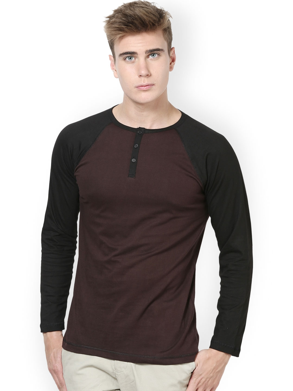 Myntra Unisopent Designs Men Brown Black Henley T Shirt