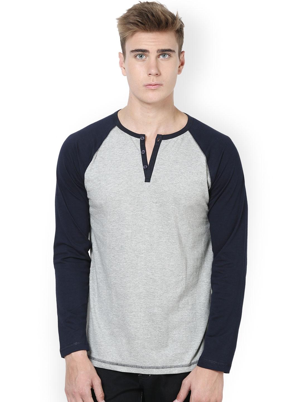 Myntra Unisopent Designs Men Grey Navy Henley T Shirt