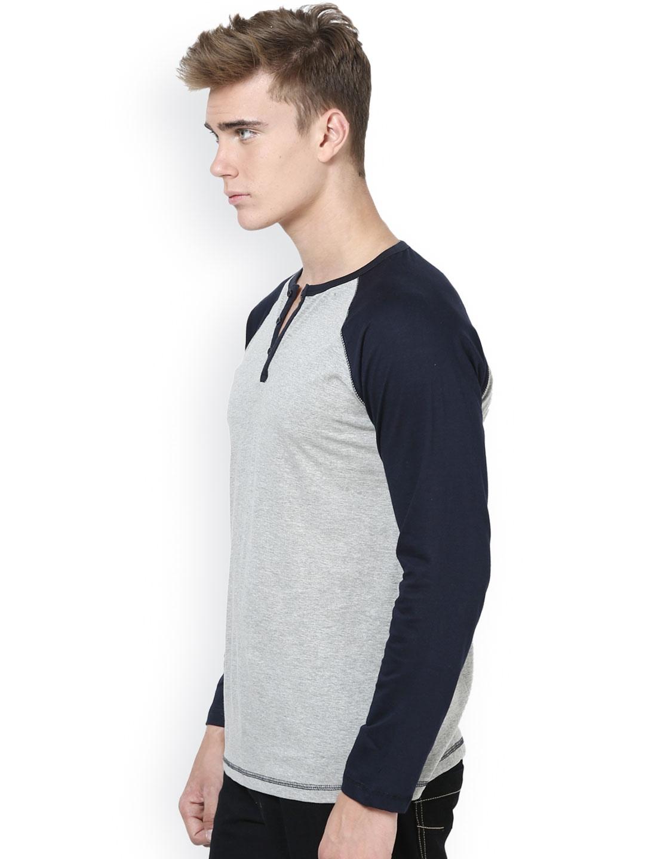Myntra unisopent designs men grey navy henley t shirt for Myntra t shirt design
